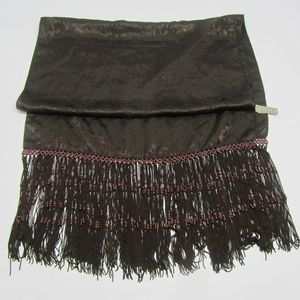 ECHO LONG FRINGED BROWN POLYESTER SCARF WRAP